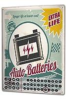 カレンダー Perpetual Calendar Vintage Car Car battery Longlife Tin Metal Magnetic