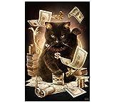黒い猫、装飾品 プレゼント 客間、部屋、書斎を飾る、手作り ダイヤモンド絵画セット 貼れる ホームの装飾
