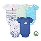 (マザーネスト) Mother Nest カバーオール 新生児から ロンパース 赤ちゃん 綿100 半袖 Baby ボディースーツ 5枚セット ベビー服 Bodysuit BBT052-3M
