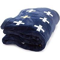 mofua ( モフア ) 毛布 プレミアムマイクロファイバー plus クロス柄 シングル ネイビー 558801Q8