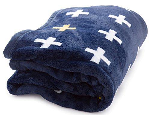 mofua (モフア) 毛布 プレミアムマイクロファイバー plus クロス柄 セミダブル ネイビー 558802Q8