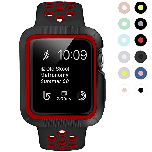 BRG コンパチブル apple watch バンド とコンパチブルapple watchケース のセットコンパチブル apple watch series3/2/1 用のコンパチブルアップルウォッチバンドとコンパチブルアップルウォッチ ケースのセット (38mm,黒/レッド)