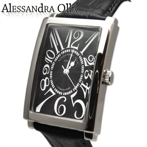 [アレサンドラオーラ]Alessandra Olla 腕時計 レクタンギュラー オールブラック AO-4500-BK メンズ