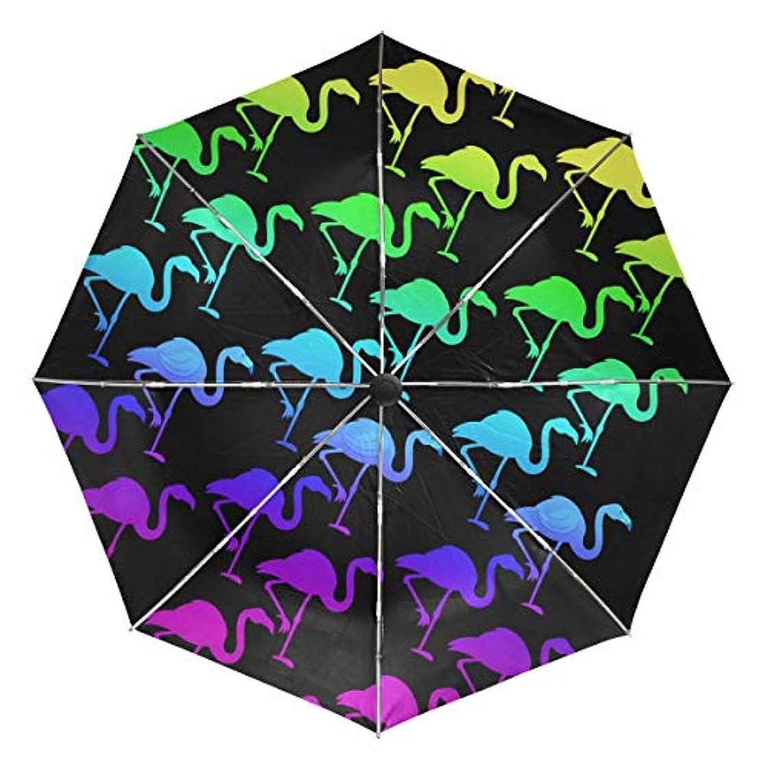 倍率データ液体傘 自動傘 丈夫 台風対策 雨傘 日傘 虹 カラフルなフラミンゴ 三つ折り傘 日よけ傘 日焼け止め 折りたたみ傘 UVカット 紫外線カット 自動開閉 晴雨兼用 梅雨対策