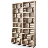 本棚 マンガ収納 スライド&ディスプレイ ブックエンド 木製 リアル木目 ワイドタイプ 幅120 上下段 セット ナチュラル
