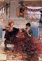 ¥5K-200k 手書き-キャンバスの油絵 - 美術大学の先生直筆 - 7 名画 - Loves Jewelled Fetter ロマンチック ガーデン Lawrence Alma Tadema - 絵画 洋画 手描複製画 -07