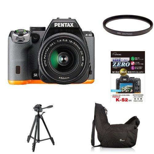 PENTAX デジタル一眼レフ PENTAX K-S2 18-50REキット (ブラック×オレンジ) K-S2 + MARUMI カメラ用フィルター DHGレンズプロテクト 他3点セット