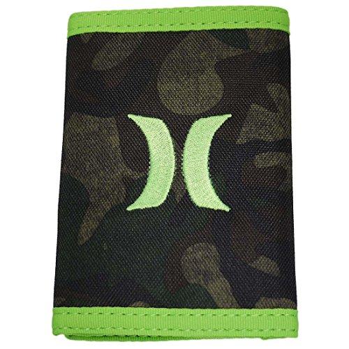財布 ハーレー メンズ レディース 三つ折り ウォレット コンパクト グリーン 迷彩アーミー ロゴ Hurley 9032