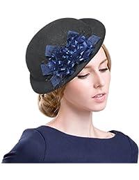 sedancasesaレディース冬と秋シンプルエレガントなアーティストソリッドヴィンテージウールベレー帽帽子暖かい快適なキャップ