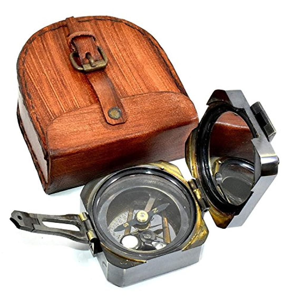みなす手当十分ではないcamping-compass/日時計コンパス真鍮Nauticalデバイス – クリノメーターコンパス、プッシュボタン(スピリットレベル) – ヴィンテージLook磁気デバイスwith Letherボックス