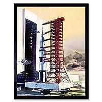 Vintage Rocket Launch Life Magazine Space Art Print Framed Poster Wall Decor 12X16 Inch ビンテージロケット生活雑誌の表紙スペースポスター壁デコ