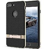 Icheckey iPhone 7 plus ケース 保護 カバー 耐衝撃 二重構造 背面キックスタンド付 アイフォン7プラス ケース おしゃれ 滑り止め ブラック+ゴールデン