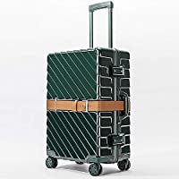 """20""""24""""28""""Carro Vintage Aluminum Frame PC Luggage Maletas Rolling Hardside Cabin Koffer Travel Case Trolley Suitcase with Wheels (Color : Green, Size : 28inch)"""