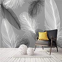 Lixiaoer 北欧スタイルの黒と白の羽壁画壁紙3D抽象芸術リビングルームの寝室の家の装飾の壁のペーパー-120X100Cm