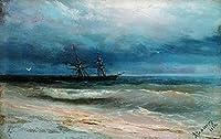 手描き-キャンバスの油絵 - Ivan Aivazovsky sea with a ship シービューペインティング RSSP1 芸術 作品 洋画 -サイズ04