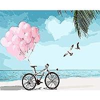 楽しさ 自転車 - デジタル絵画diy純粋な手描きの油絵コアリビングルーム風景油絵フレームレス装飾画40 * 50/50 * 65/60 * 75 ぜいたく (Size : L)