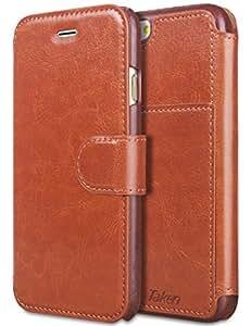 Taken iPhone6s ケース iPhone6 ケース PUレザー手帳型ケース 財布型ケース アイフォン6S/6 4.7インチ適用 カバーケース カード収納 超薄型 防塵 軽量 耐摩擦 耐汚れ 衝撃吸収 全面保護 ブラウン