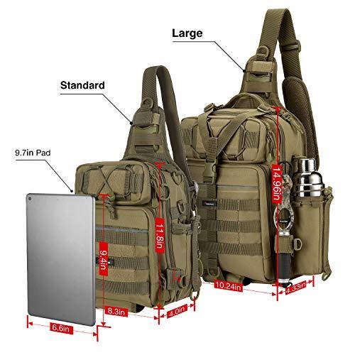 Piscifun Fishing Tackle Storage Bag Outdoor Shoulder Backpack Cross Body Sling Bag, Standard(11.8 * 8.3 * 3.9inch)-Khaki