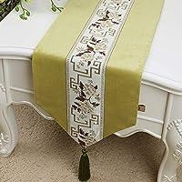 WENJUN 灰色ベルベットDiamanteテーブルランナータッセルシャニールスパークルベルベットルック6色、5サイズ使用可能(33 * 150-33 * 300センチメートル) (色 : Green, サイズ さいず : 33 * 300cm)