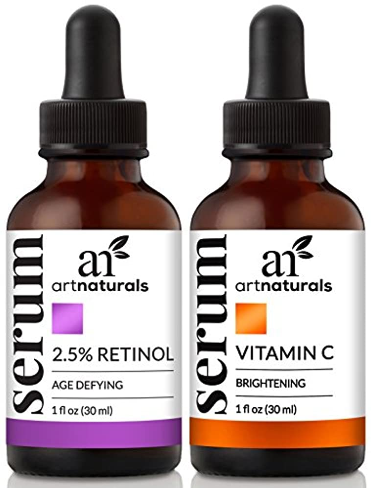 シェフ疑わしい習慣ArtNaturals Organic Vitamin-C and Retinol Serum – (1.0 oz x 2) Holiday Gift Set - Anti Wrinkle & Dark Circle Remover...