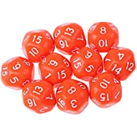 Fityle 10個 アクリル 多面体 ダイス サイコロ テーブルゲーム MTG RPGゲーム用 小道具 全9色 - オレンジ