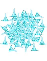 T TOOYFUL 100個セット 液体 香水用 小分けツール ミニ ファンネル エッセンシャルオイル 全3色 - ブルー