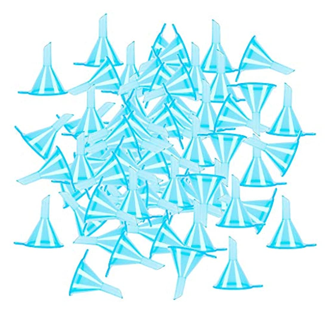 ホップ判決T TOOYFUL 100個セット 液体 香水用 小分けツール ミニ ファンネル エッセンシャルオイル 全3色 - ブルー