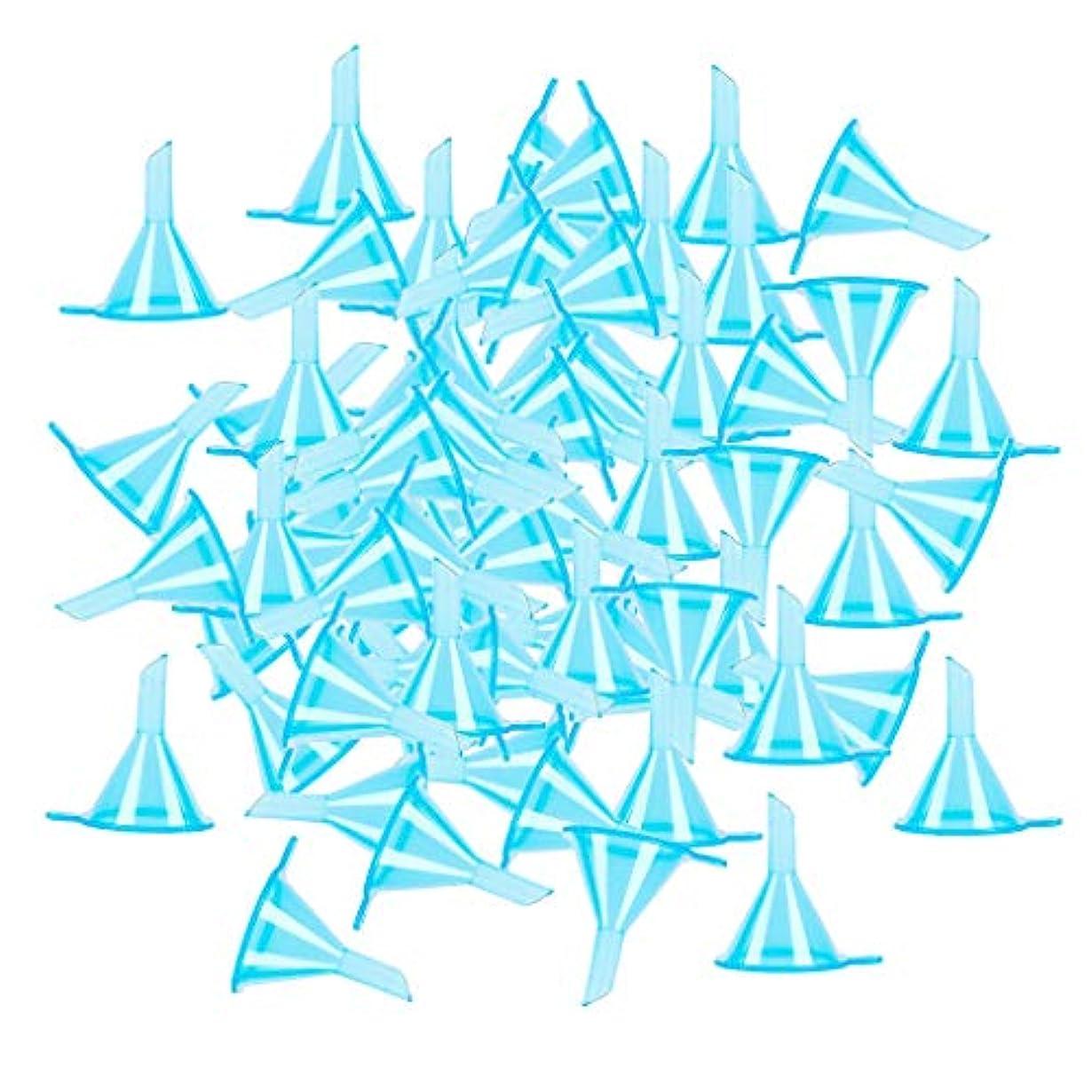 最初に公はっきりと100個セット 液体 香水用 小分けツール ミニ ファンネル エッセンシャルオイル 全3色 - ブルー