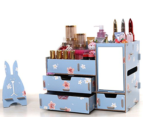 (ウィンコ)Winko Makeup receive a case可愛い 超大 化粧品収納ボックス メイクボックス  コスメボックス テーブルの整理ボックス タンスタイプ ジュエリー ボックス 引き出しのタイプ ブルー
