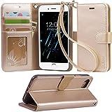 【Arae】 iPhone 7 ケース / iPhone 8 ケース 手帳型「 スタンド機能 カードポッケト ストラップ」人気 おしゃれ 落下防止 衝撃吸収 財布型 おすすめ アイフォン 7 / アイフォン 8 用 ケース カバー (シャンパンゴールド)