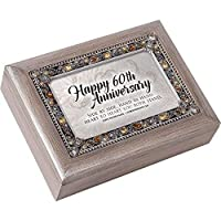 Happy 60th Anniversary JeweledピューターColored記念品音楽ボックスPlays Amazing Grace