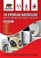 Kodiak Supplies A4 ウォータースライドデカールペーパー インクジェットホワイト 20シート DIY A4ウォータースライド転写ホワイト印刷可能ウォータースライドデカール A4 20枚