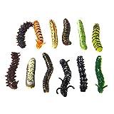【ノーブランド品】虫セット おもちゃ 虫の形 プラスチックワーム いたずら マルチカラー飾り 12ペア