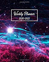2020-2022 Weekly Planner: Pretty Galaxy 3 Year Organizer with Weekly Spread Views - Cute Nebula 3 Year Calendar, Schedule Agenda, Journal & Business Notebook - Funky Deep Space Red & Blue Witches Broom Nebula