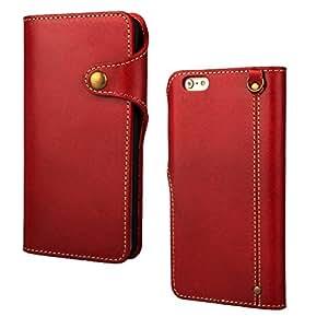 coznypony®iPhone 5s/6/ 6 Plus 用 ケース 本革 牛革 ビジネス モデル 手帳型人気 横開き アイホン6ケース iphoneケース (iPhone5S, レッド)