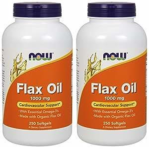 【バリュー2本セット】[海外直送品] NOW Foods 【大容量】フラックスオイル(亜麻仁) 1000mg 250粒 Flax Oil 1000mg 2...