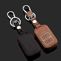 革車のキーカバーケースキーリング用ホンダクロスツアーヒスイフィット革キーリング2ボタンスマート車のキーは暗闇で光るキーバッグ-ブラウン