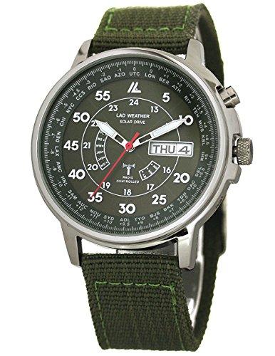 [ラドウェザー] 腕時計 メンズ 電波ソーラー 100m防水 電波時計