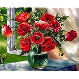 数字でDiy油絵、数字キットでペイント - ガラス花瓶16 * 20インチリネンキャンバス - 大人のためのデジタル油絵壁アートアートワーク上級子供高齢者ジュニア