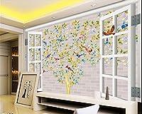 Wapel 壁画 3 d 壁紙ツリー 3 D windows 鳥テレビリビング 3 d 壁紙ホームデコレーションフォト 3 d の壁紙の背景を描いた 絹の布 200x140CM