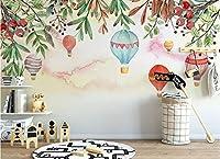 Minyose 任意のサイズの3D壁紙をカスタマイズする北欧のシンプルな熱気球の花の子供部屋の背景の壁画の壁紙-250cmx175cm