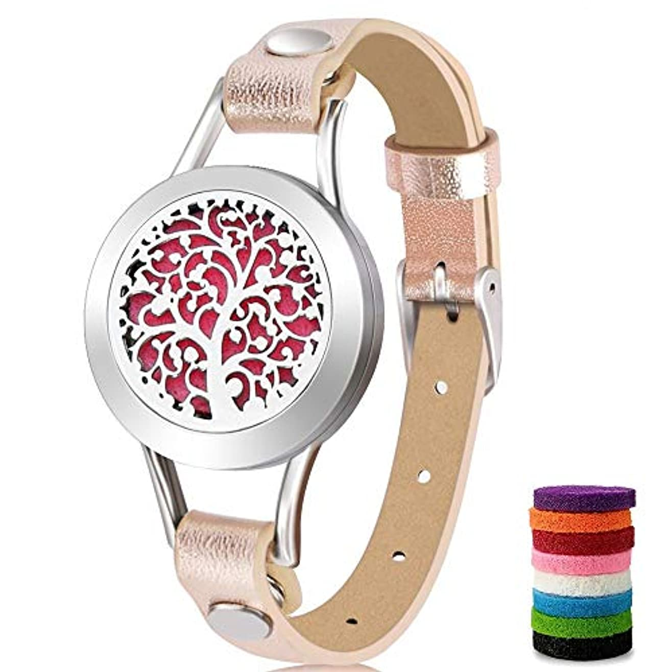 弱点幻想集団アロマセラピーエッセンシャルオイルディフューザーブレスレット(ピンク) 8色の詰め替えパッド付き 愛する人への特別なギフトアイデア ゴールド