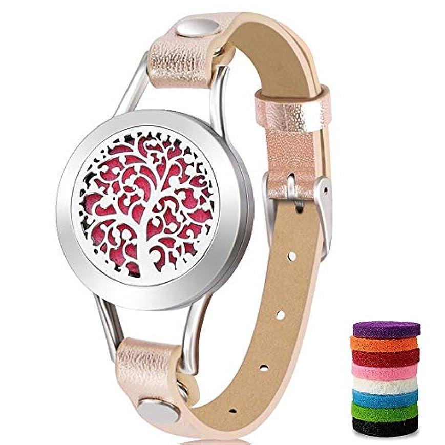 知らせる出口クロールアロマセラピーエッセンシャルオイルディフューザーブレスレット(ピンク) 8色の詰め替えパッド付き 愛する人への特別なギフトアイデア ゴールド