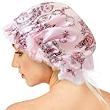 AQshop ナイトキャップ シルク100% ミディアム~ロングヘア用 サイズ調節レース紐付き つや髪 保湿 lc (花柄)