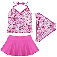 TiaoBug 3pcs Kids Girls Summer Halter Tankini Spaghetti Swimsuit Swimwear with Skirt Bathing Suit