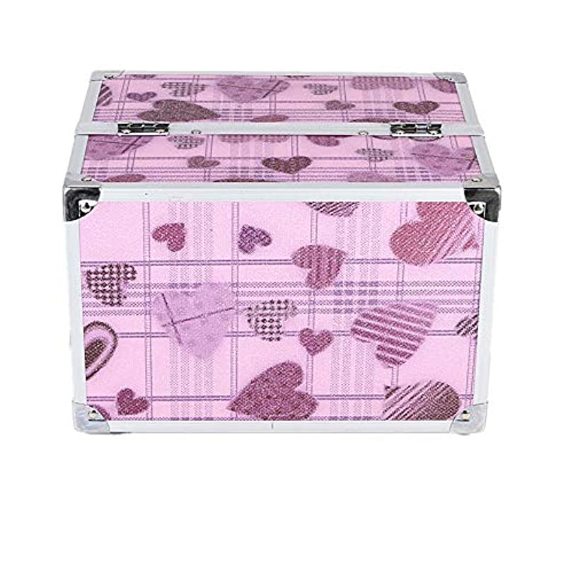 業界ほぼ日付化粧オーガナイザーバッグ かわいいハートパターントラベルアクセサリーのためのポータブル化粧ケースシャンプーボディウォッシュパーソナルアイテム収納トレイ 化粧品ケース
