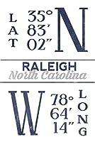 ローリー、ノースカロライナ州–緯度と経度(ブルー) 9 x 12 Art Print LANT-67528-9x12