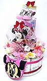 出産祝い オムツケーキ 豪華3段おむつケーキ ディズニー3M 女の子用ミニー