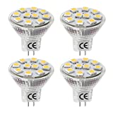 LE 1.8W MR11 GU4口金 LED電球 スポットライト ハロゲン電球20W相当 12V AC/DC対応 低電圧 ビーム角度120° 電球色(3000K) 4個セット
