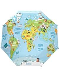 KASAMO地図折りたたみ傘 子供 キャラクター ワンタッチ自動開閉 耐強風 折りたたみ傘 レディース 晴雨兼用 軽量 紫外線傘 UVカット